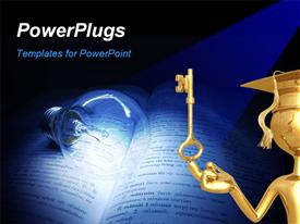 Bulb on book representing the light of knowledge template for powerpoint