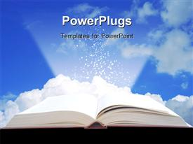 PowerPoint template displaying open book projecting light with clouds in background