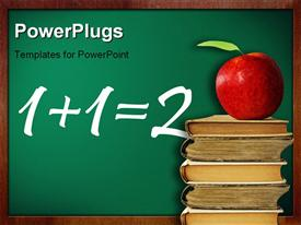 Knowledge conception. apple on stack of books against classroom chalk board presentation background