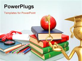 PowerPoint template displaying diploma and red apple on a pile of books