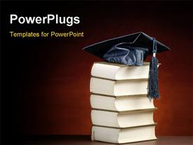PowerPoint template displaying graduation cap on top of the stack of books ,for various graduation, knowledge or education themes