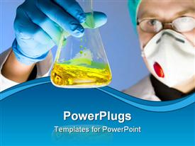 PowerPoint template displaying close up portrait of chemist focus on the flask
