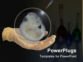 PowerPoint template displaying needle piercing an animal embryo on white gloved hands