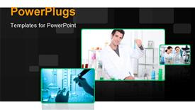 PowerPoint template displaying lab assistant in the background.