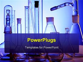 PowerPoint template displaying science laboratory with medical science equipment performing research