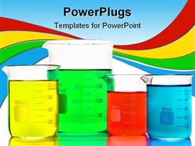 PowerPoint template displaying scientific beakers filled with assorted colors liquids for an experiment in science in the background.
