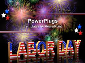 PowerPoint template displaying labor Day card invitation template or background with fireworks