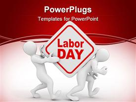 PowerPoint template displaying people with box with the inscription labor day. 3D