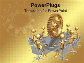 PowerPoint template displaying 3D golden figures standing around a silver reflective table with huge golden gear on top of table