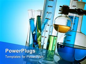 PowerPoint template displaying lab test tubes and flasks containing different colored liquids on light blue background