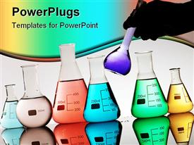 PowerPoint template displaying gloved hand driving a flask in a chemical laboratory in the background.