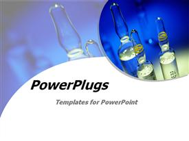PowerPoint template displaying template fits presentations on chemistry, laboratory experiments, scientific research, drugs