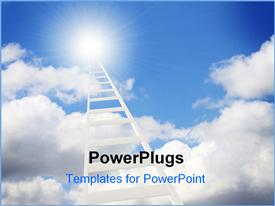 PowerPoint template displaying ladder leading to heaven with cloudy blue sky and shinning light
