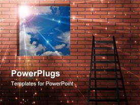 Ladder leans on wall with light from sky powerpoint template