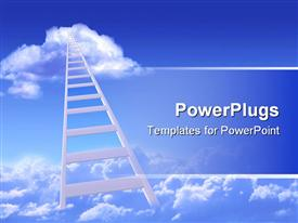 Conceptual image - ladder to sky. Collage powerpoint design layout