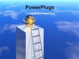 PowerPoint template displaying ladder leaning against silver pillar with glowing globe on top