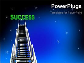 Ladder or stairway up to the night sky with stars powerpoint template