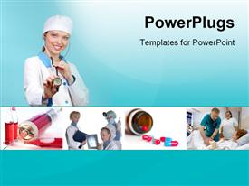 PowerPoint template displaying collage of medical in the background.