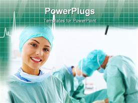 Portrait of a medical assistant while an operation takes place in the background powerpoint design layout