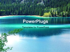 PowerPoint template displaying green jade color lake in Alaska in the background.