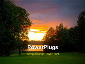PowerPoint template displaying beautiful sunset over golf course beside lake with trees