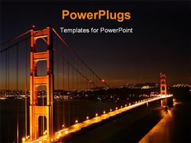 PowerPoint template displaying night view of a city bridge with many bright lights