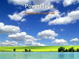 PowerPoint template displaying field on a background of the blue sky in the background.