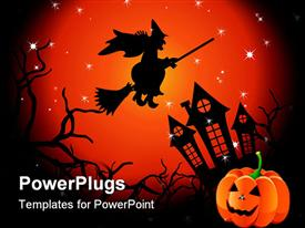 PowerPoint template displaying halloween witch flying over haunted house jack o lantern in corner