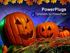 PowerPoint template displaying two Jack -o- lantern Halloween pumpkins on a Halloween theme background