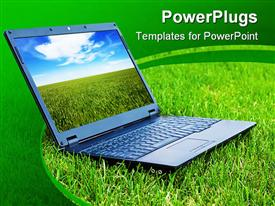 PowerPoint template displaying view of modern laptop sitting on fresh grassland