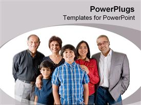 PowerPoint template displaying extended Indian family in the background.