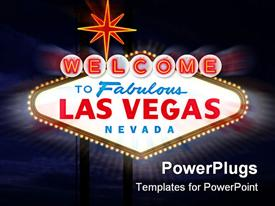 PowerPoint template displaying welcome to Las Vegas Sign