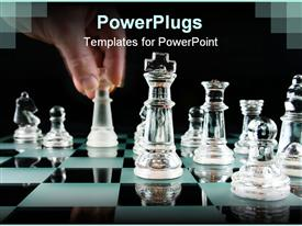PowerPoint template displaying last Move in Chess with Motion Blur on hand in the background.