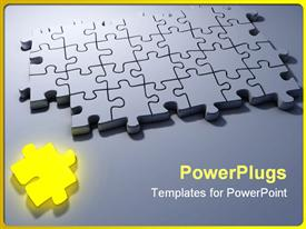 PowerPoint template displaying problem solving metaphor with yellow puzzle piece and gray 3D jigsaw