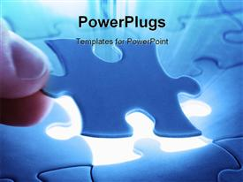 PowerPoint template displaying hand holding blue puzzle piece over light glow from missing spot