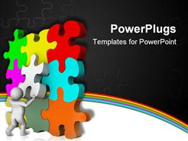 PowerPoint template displaying animated colorful tiles being arranged by a human figure