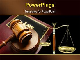 PowerPoint template displaying court gavel on top of a law book and balance