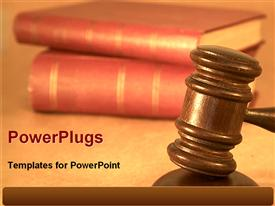 PowerPoint template displaying wooden judge gavel hammer with red law books for judicial system on a neutral background