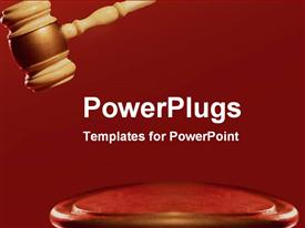 Strong red gavel making a decision powerpoint design layout