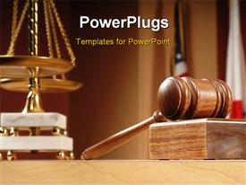 PowerPoint template displaying courtroom with balance and gavel on the table