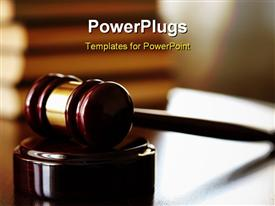 PowerPoint template displaying juridical concept with hammer and law books