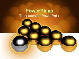 PowerPoint template displaying a lot of golden balls with a grey one with golden and white background
