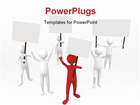 PowerPoint template displaying big protestation with leader in front