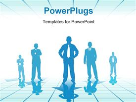 PowerPoint template displaying business people (stand on pointers blue toned special f/x) in the background.