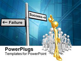 PowerPoint template displaying lots of gold and silver human figures following a Success/Failure sign post