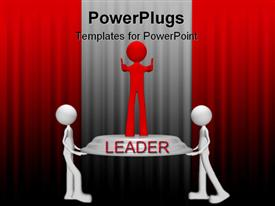 Conceptual 3D leader who represents a position of competitive advantage template for powerpoint