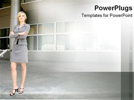 PowerPoint template displaying corporate woman standing strongly with arms crossed in the background.
