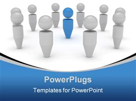 PowerPoint template displaying blue figure standing out among silver figures, leadership, management