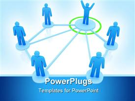 Leader is managing his work team. Network concept powerpoint theme