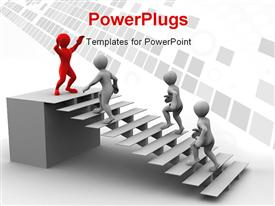 PowerPoint template displaying 3D men climbing stairs with red man standing on podium